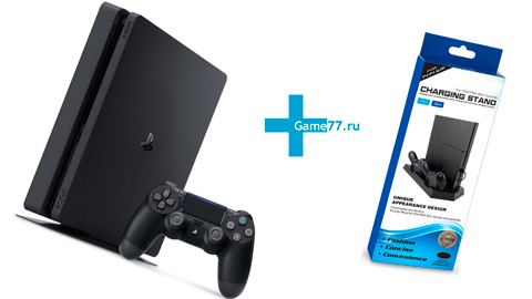 Sony PlayStation 4 Slim 500 gb (CUH-2216A) + Сharging stand для ps4 и 2-х DualShock 4 (Dobe)