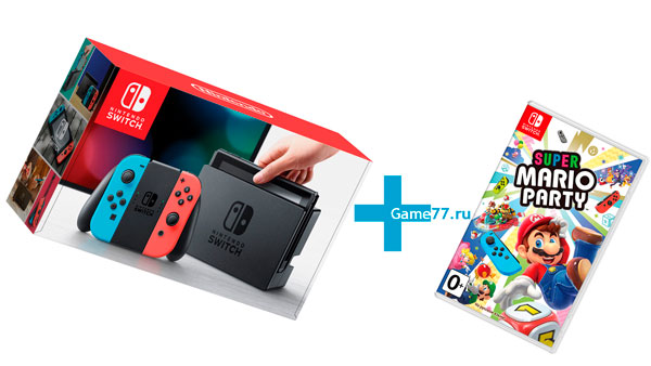 Комплект Nintendo Switch (Neon blue/Neon red) + Super Mario Party